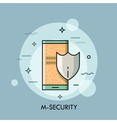 Shield and smartphone with lock screen mobile vector