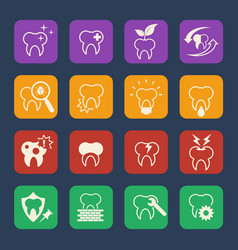 tooth teeth dental icons set flat design vector image vector image