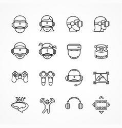 virtual reality linear icon vector image vector image