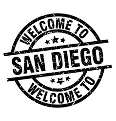 Welcome to san diego black stamp vector