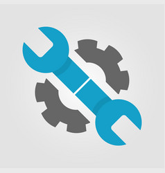 wrench and gear icon in two colors blue and dark vector image vector image