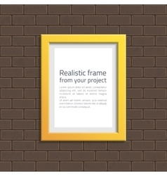 Yellow frame on white brick wall vector image