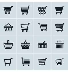 Shopping cart icons set Add to cart website vector image