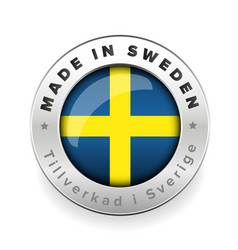 Made in sweden button with swedish translation vector