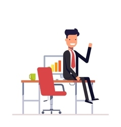 Lazy businessman or manager sitting at the table vector image
