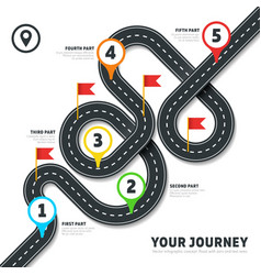 Navigation winding road way map infographic vector