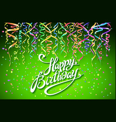 Happy birthday card with green background with vector