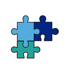 Puzzle jigsaw piece business team vector
