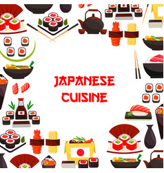 Poster of sushi and japanese seafood rolls vector