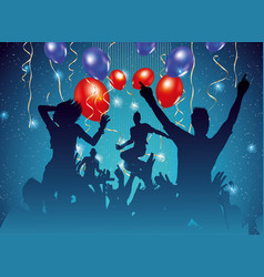 Party background with dancing people silhouette vector