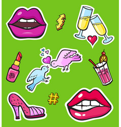 Pop art style fashion stickers vector