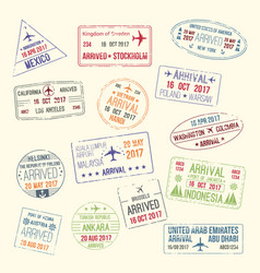 Icons of travel city passport stamp vector