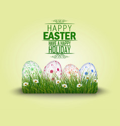 Happy easter eggs in the grass vector
