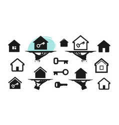 House home set icons building real estate key vector