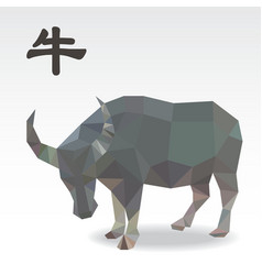 Cow polygon origami zodiac vector