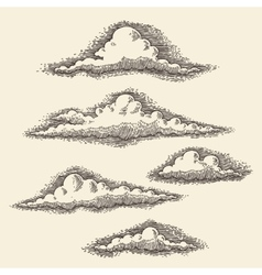Retro clouds engraving hand drawn sketch vector