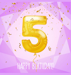 5 birthday greeting card golden balloon and vector image