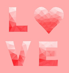 Love and heart by abstract geometric triangle in vector