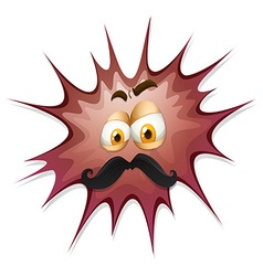 Face with mustache on brow splash vector