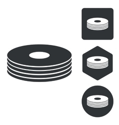 Cd stack icon set monochrome vector