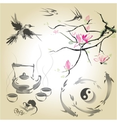 Set in a japanese style of sumi-e vector