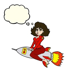 Cartoon army pin up girl riding missile with vector