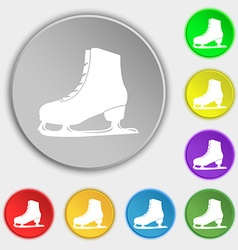 Ice skate icon sign symbol on eight flat buttons vector