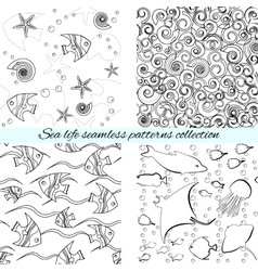 Sea life seamless patterns collection vector