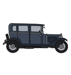 Vintage dark blue car vector