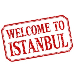 Istanbul - welcome red vintage isolated label vector