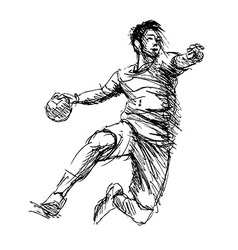 Hand sketch handball players vector