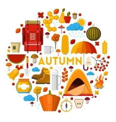 Autumn Fall Seasonal Icons Set vector image