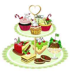 Baked goods arranged in the tray vector