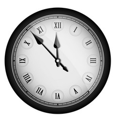 Black realistic vintage clock isolated on white vector