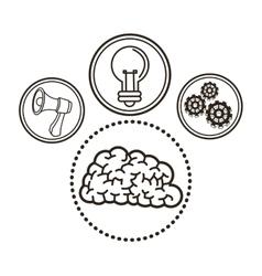 Brain great idea solution sketch design vector