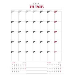 calendar planner template for 2018 year june vector image