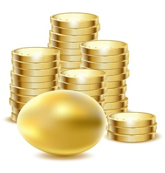coins gold egg vector image