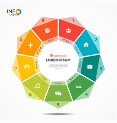 colorful infographic template with circle chart 9 vector image