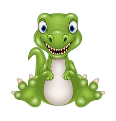 Cute baby dinosaur cartoon vector