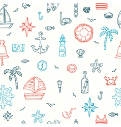 Cute hand drawn seamless pattern with nautical vector image