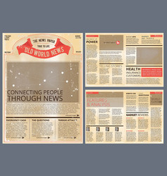 design template of vintage newspaper vector image vector image