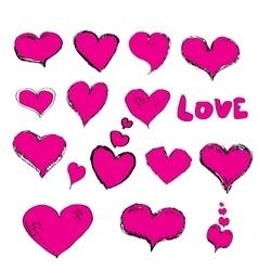 Doddle hearts set hand drawn heart vector