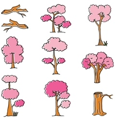 Doodle of style pink tree vector