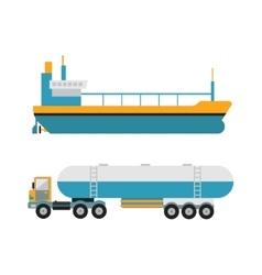 Gas oil transportation van vector image