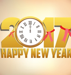 Happy new year 2017 background with gold clock vector