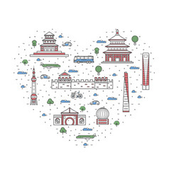 i love china poster in linear style vector image