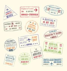 Icons of travel city passport stamp vector