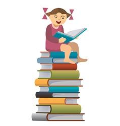 Little girl reader vector image