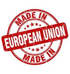Made in european union red grunge round stamp vector