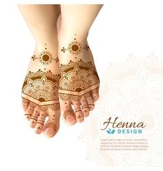 Mehndi henna woman feet realistic design vector
